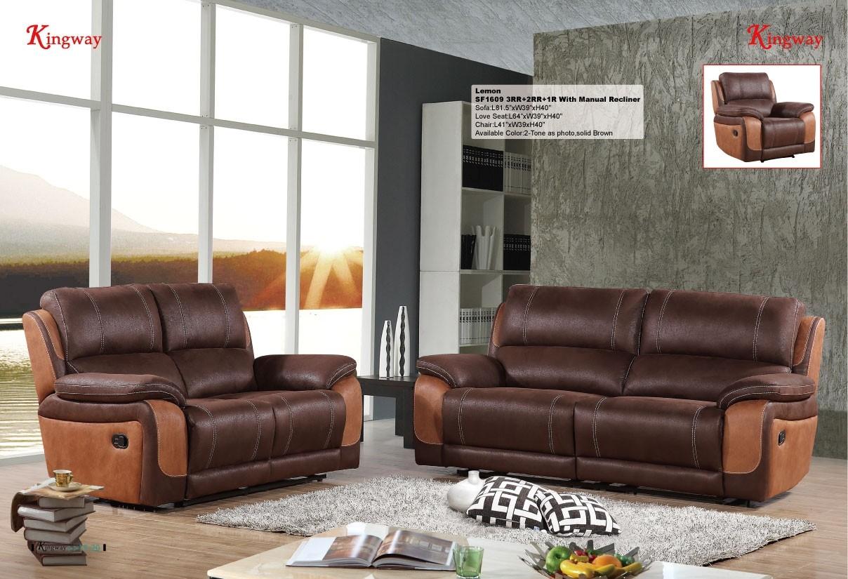 3 Pcs Stitching 2-tone Sofa Set Manual Recliner, Chocolate/Camel -UH-1609