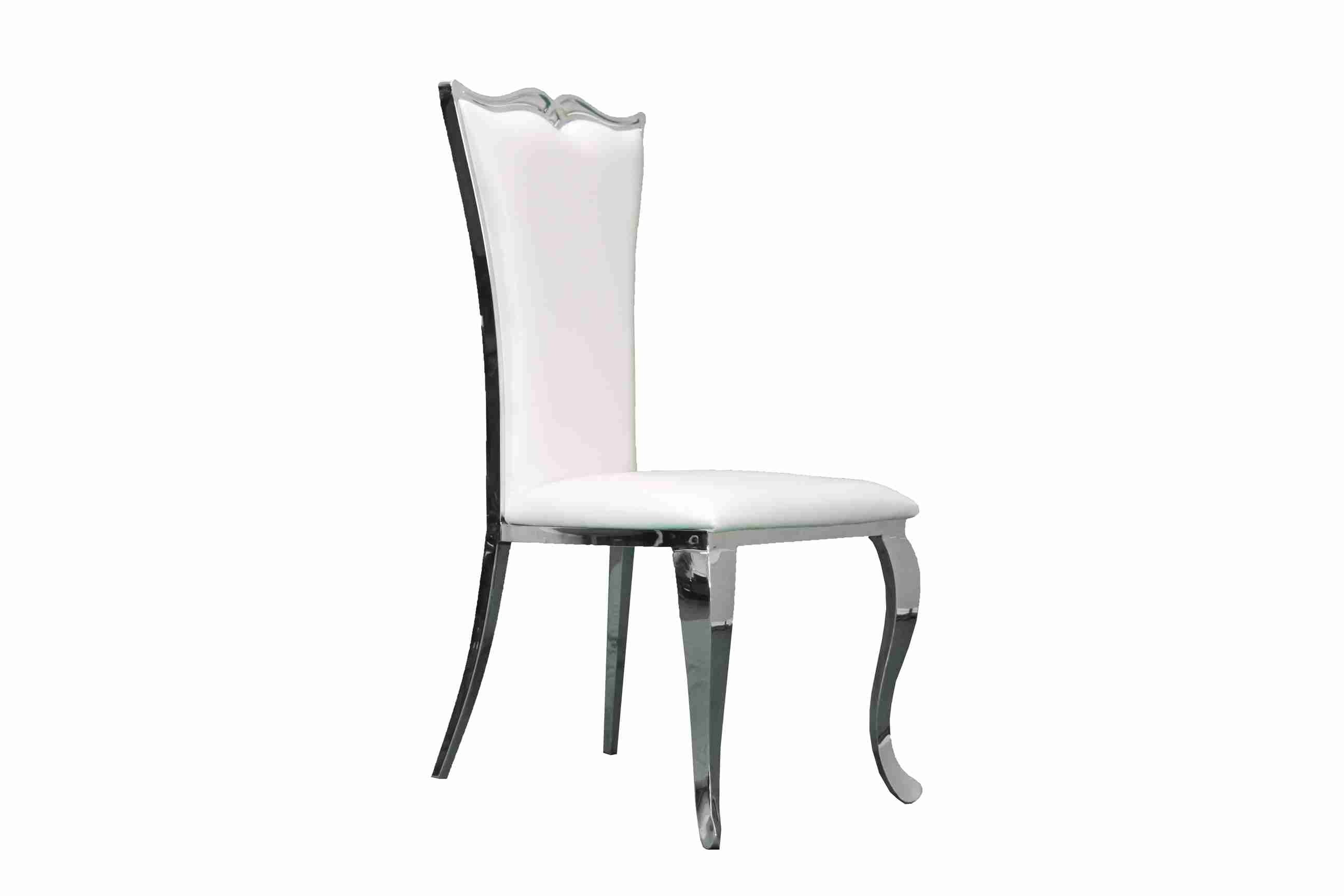 Side Chair PU Leather in Metallic White (Set of 2) -UH-981-WH