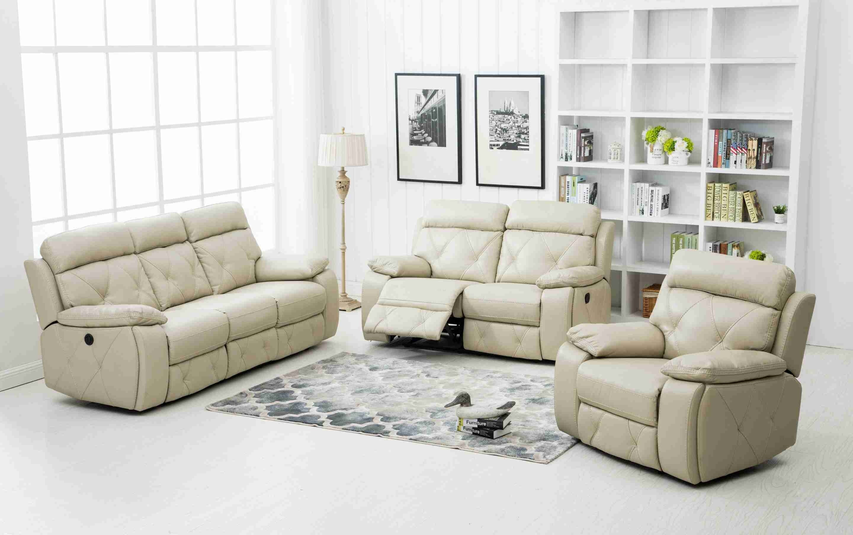 Excellent 3 Pcs Stitching Bonded Leather Sofa Set Recliner Ivory Uh Creativecarmelina Interior Chair Design Creativecarmelinacom
