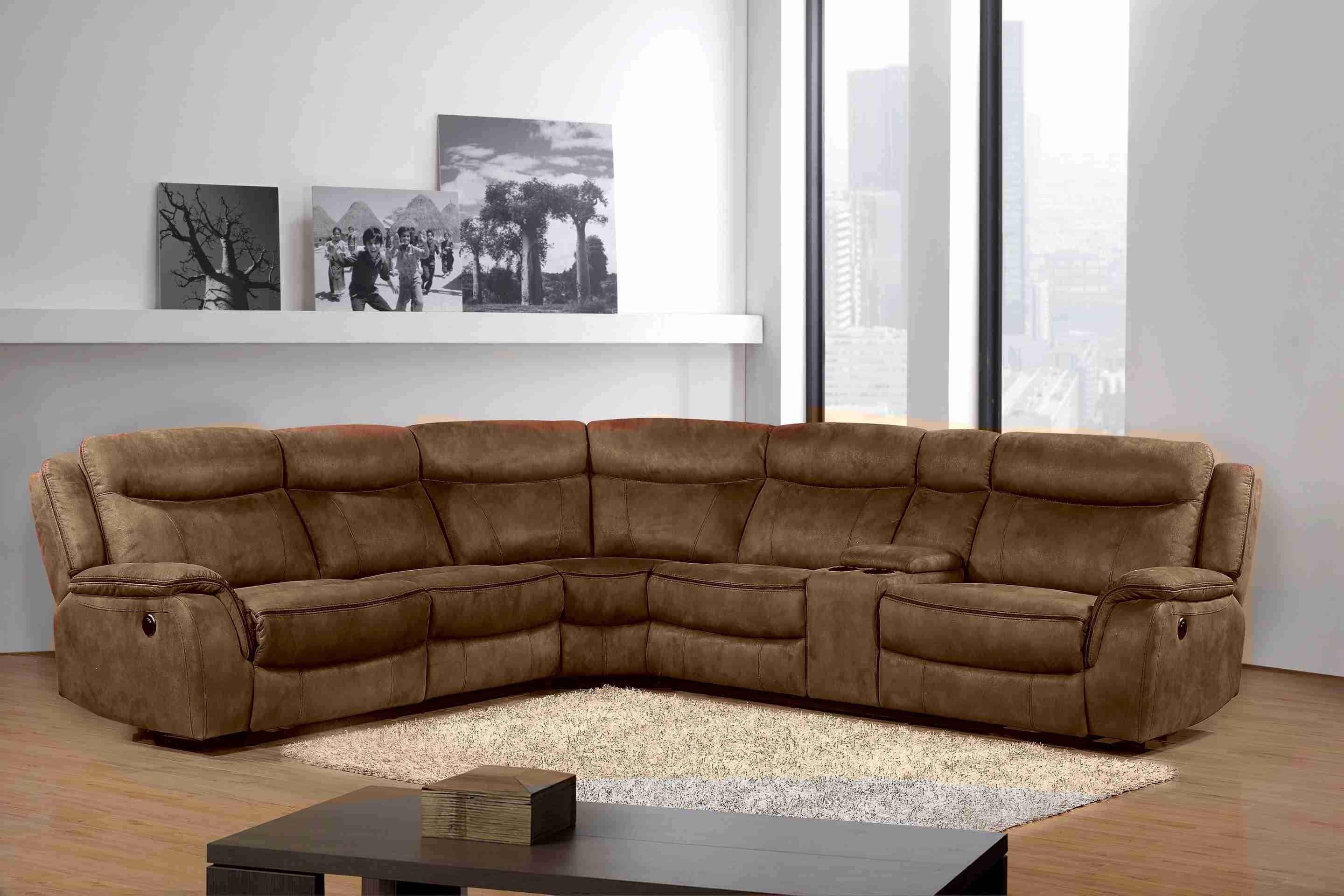 4-Piece Reclining Living Room Sectional with 2 Power Recliners, Chocolate/Camel Trim - UH-1607