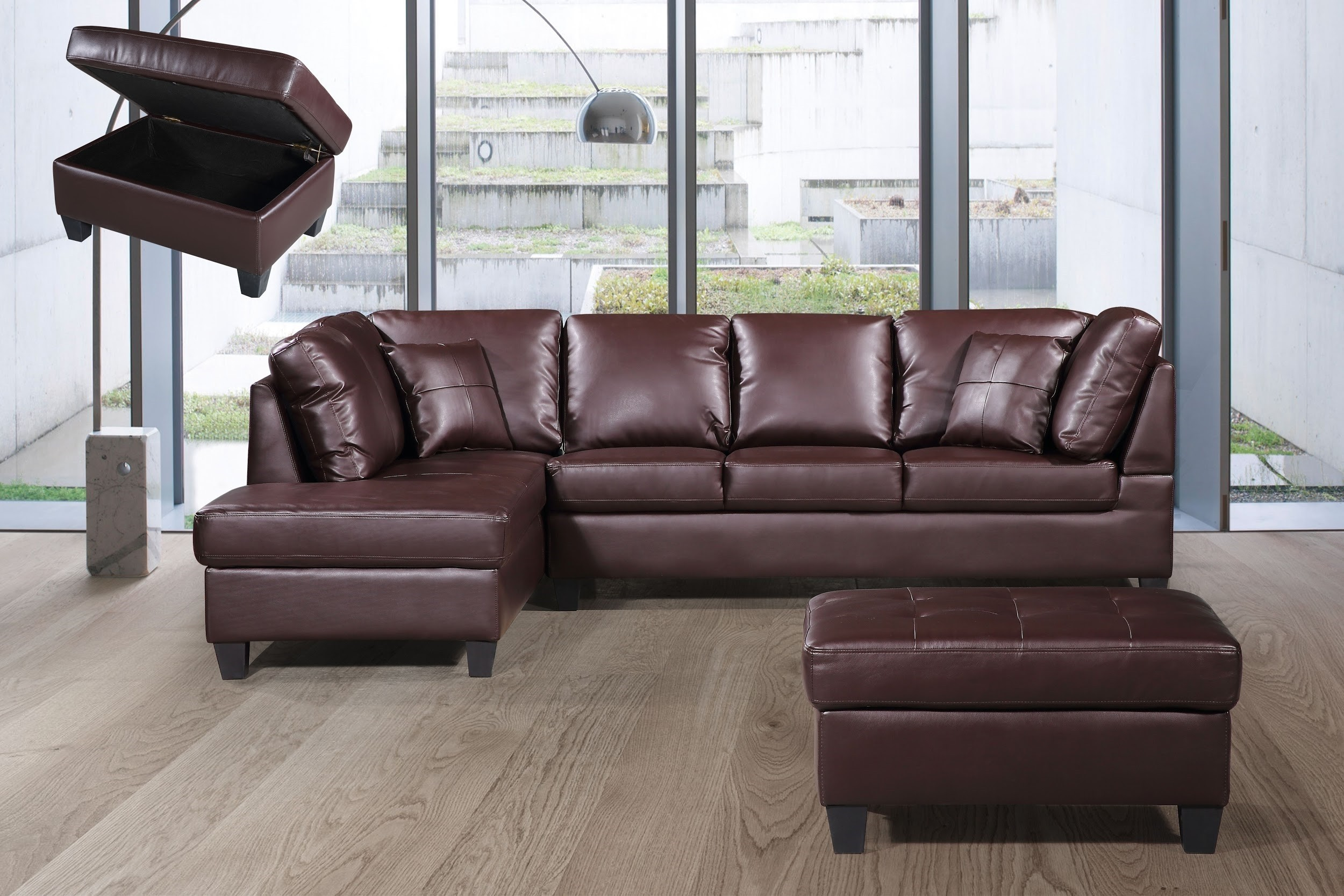 3 Pcs Sectional Sofa Bonded Leather w/Storage Ottoman Brown color Facing Left.-  UH-1025-BR