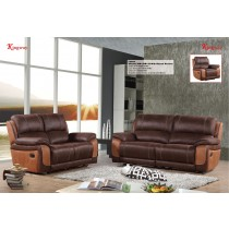 3 Pcs Stitching 2-tone Sofa Set Manual Recliner, Chocolate/Camel -UH-1609