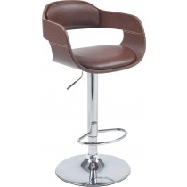 Adjustable Height Barstool With Chrome Base And Leather Seat