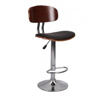 Bentwood Adjustable Height Barstool With Chrome Base And Bonded Seat