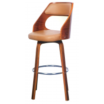 Bentwood Barstool With Wooden Leg And Leather Seat BC-610