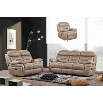 3 pcs Manual Recliner Sofa Set, Hot stamping Fabric. Taupe -UH-1601