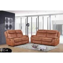 3 pcs Manual Recliner Sofa Set, Hot stamping Fabric. Camel/Chocolate Trim -UH-1605