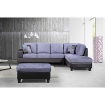 3-Piece Modern Right Microfiber / Faux Leather Sectional Sofa Set w/Storage Ottoman (Gray) UH-1003
