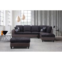 3-Piece Modern Right Microfiber / Faux Leather Sectional Set w/Storage Ottoman (Black) UH-1005