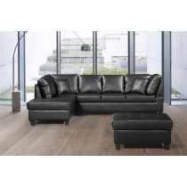 3 Pcs Sectional Sofa Bonded Leather w/Storage Ottoman Black color Facing Left. UH-1025-BLK