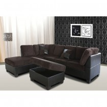 3-Piece Modern Left Corduroy/ Faux Leather Sectional Set w/Storage Ottoman (Chocolate) - UH-1022-BR