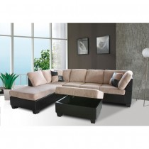 3-Piece Modern Left Corduroy/ Faux Leather Sectional Set w/Storage Ottoman (Saddle) - UH-1022-SADDLE