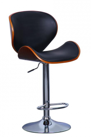 Bentwood Adjustable Height Barstool With Chrome Base And Leather Seat