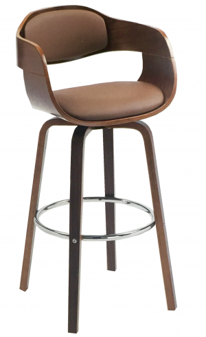 Bentwood Barstool With Wooden Leg And Leather Seat