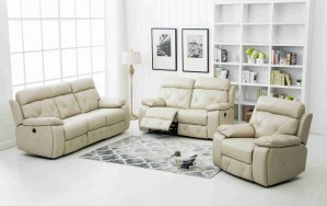 3 Pcs Stitching Bonded Leather Sofa Set Recliner, Ivory -UH-1614