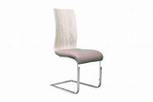 Side Chair Wooden/PVC Leather in Beige-Taupe & Tan  (Set of 2) - UH-977-BEIGE-TPE/TAN
