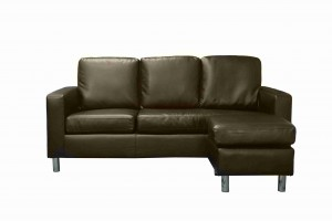 Modern PVC Leather 3 Seater Sectional Sofa Small Space Configurable Sofa-Brown -UH-1008-BR