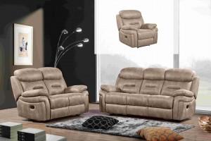 3 pcs Manual Recliner Sofa Set, Hot stamping Fabric. Taupe -UH-1601