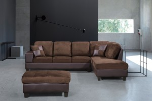 3-Piece Modern Right Microfiber / Faux Leather Sectional Set w/Storage Ottoman (Chocolate) UH-1001