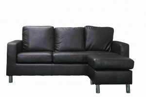 Modern PVC Leather 3 Seater Sectional Sofa Small Space Configurable Sofa-Black UH-1008-BLK