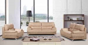 3 Piece Extra Base Supported Two-Toned Upholstered Bonded Leather Living Room Set Sofa, Color Tan -UH-1611